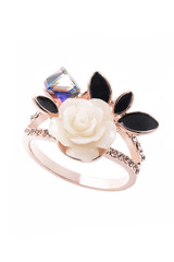 gold ring with a rose on a white background