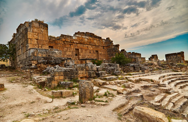 Hierapolis, ruins of ancient theater, beautiful sky