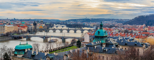 Aluminium Prints Eastern Europe Panorama of Prague bridges