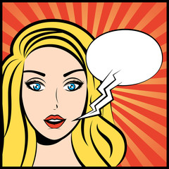 Pop art vector illustration of woman with speech bubble