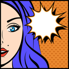 Pop art vector illustration of young woman with explosion bubble