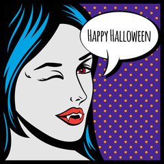 Halloween vector illustration or poster with vampire girl in pop