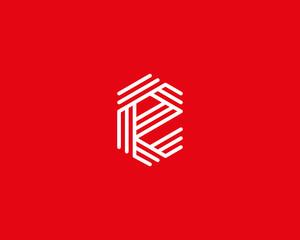 Abstract letter E logo design template. Line creative sign. Universal vector icon.
