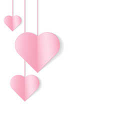 Romantic background with hanging hearts. Vector illustration.