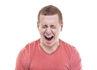 Angry man screaming.