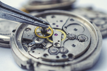 tweezers and disassembled mechanical watches