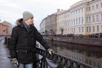 Mature man n St. Petersburg, Russia in winter