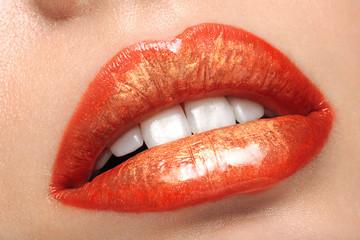 Close-up of colored lip makeup