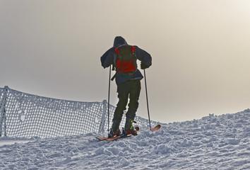 Downhill Skier at top of Kasprowy Wierch in Zakopane in Tatras in winter