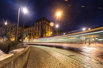 darmstadt germany traffic lights at night