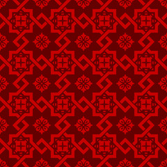 Seamless vintage Chinese window tracery square star cross pattern background.