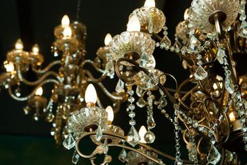 Beautiful vintage crystal chandelier in a room
