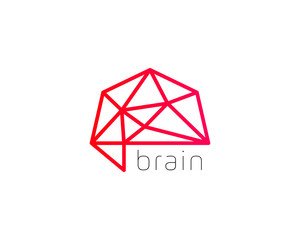 Abstract brain logo generate idea design template. Color trend medicine sign. Universal smart mind maze game scheme vector icon.