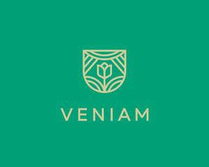 Abstract flower sun shield logo icon design. Elegant farm line symbol. Universal premium eco nature vector sign.