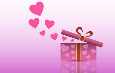 Vector illustration. St. Valentine's Day. Open box with gifts and hearts on a pink background.
