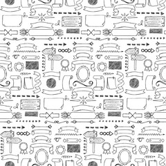 Ribbons and Arrows hand drawn seamless pattern