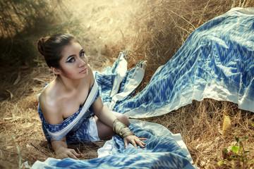 Thai beautiful woman includes costume made of indigo.