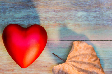 Vintage Filter : Valentine Day with Heart on Wood Background