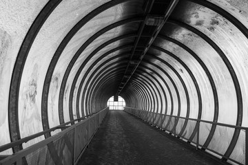 Light at the end of tunnel black and white.