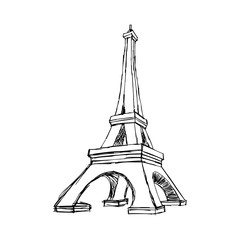 illustration vector doodle hand drawn of sketch Paris eiffel tower