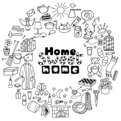 Round frame of Hand drawn Home Elements
