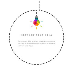 Circle bubble template with colorful  lightbulb as idea symbol