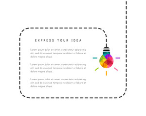 Bubble template with low poly lightbulb as creative idea concept