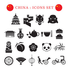 China Mono Icons Set, Travel Attraction, Food, Accommodation, Transportation, Nature and Animal
