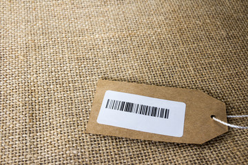 Closeup barcode on tag