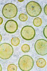 Close up of lime on ice drift
