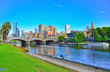 View of Melbourne skyline in summer