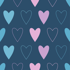Seamless vector background with decorative hearts