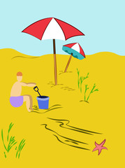 Summer Holiday Scenery vector illustration