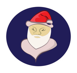Santa Claus colorful round icon. Old man with White Beard in Red Santa Cap. Digital background vector illustration.