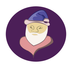 Santa Claus colorful round icon. Old man with White Beard in Blue Cap. Digital background vector illustration.