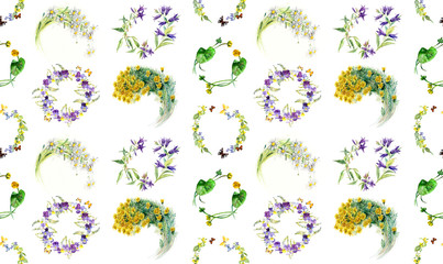 Seamless pattern. Circle frames from flowers. Flower backdrop. Watercolor hand drawn illustration