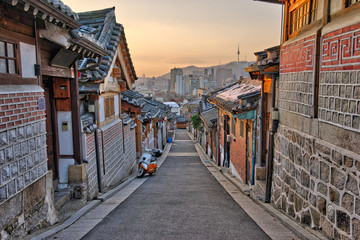 Aluminium Prints Seoul Bukchon Hanok Village in Seoul, South Korea