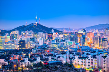 Seoul cityscape at twilight in South Korea