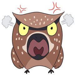 vector cartoon character owl angry