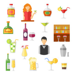 Bar Flat Icons Collection