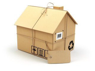 Delivery concept. Moving house.Real estate market.  Cardboard bo