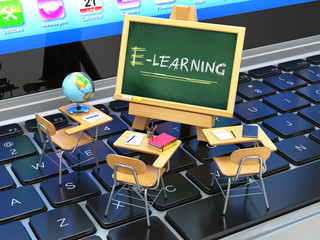 E-learning, online education concept. Blackboard and school desk