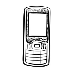 Hand drawn sketch of doodle phone