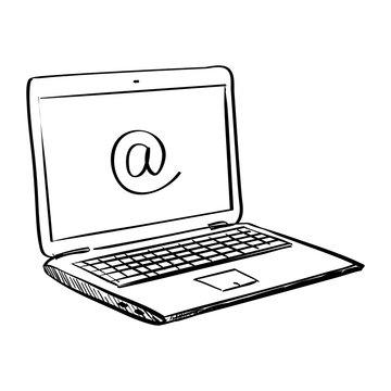 Hand draw doodle laptop