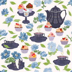 Vector seamless pattern with crockery for tea and blue flowers.