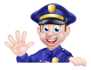 Waving Cartoon Police Man
