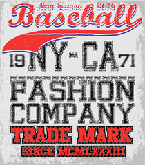 College baseball team badge in retro style. Graphic design for t