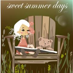 cartoon girl with book and bear