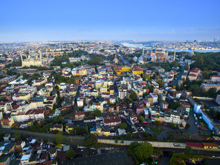 Panorama of Istanbul aerial view sightseeing sky