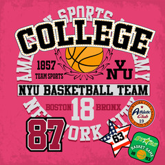 Sport college training typography, t-shirt graphics, vectors